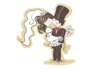 bonequinhos para convite de casamento vetor