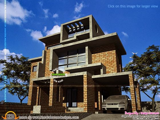 Brick house design in kerala