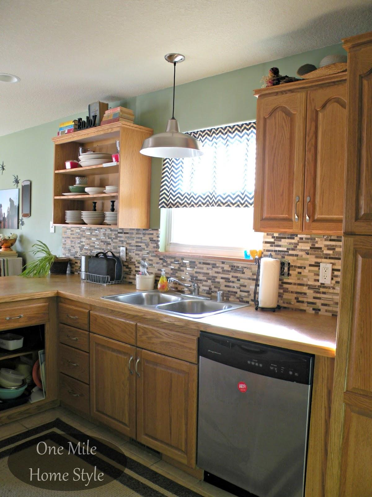Kitchen Mini-Makeover - Daltile stone and glass backsplash and warehouse pendant