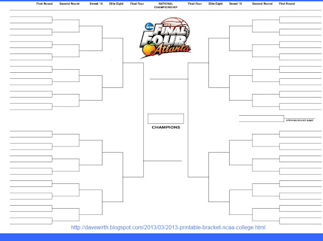 2013 Printable Bracket - NCAA College Basketball, excel, word doc, jpg, gif, pdf, tiff, png