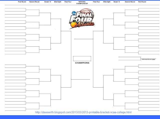 2013 Printable Bracket - NCAA College Basketball, excel, word doc, jpg, gif, pdf, tiff, png
