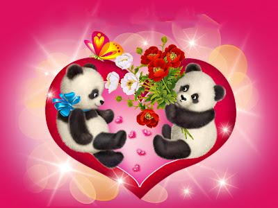 Panditas en un corazón compartiendo sus regalos