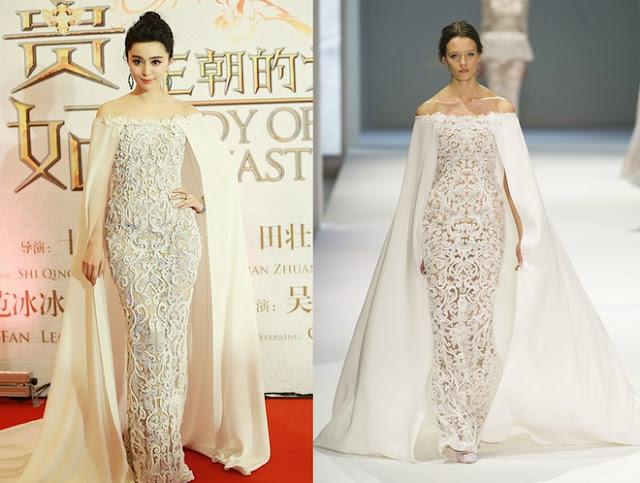 Váy cape của Ralph Russo được người đẹp diện tại một lễ ra mắt phim.
