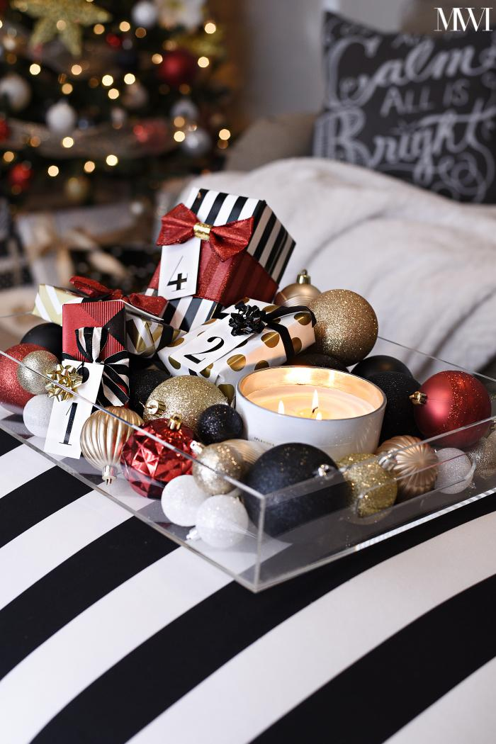 how to decorate a coffee table ottoman for the holiday or christmas season - Black And Gold Christmas Decorations