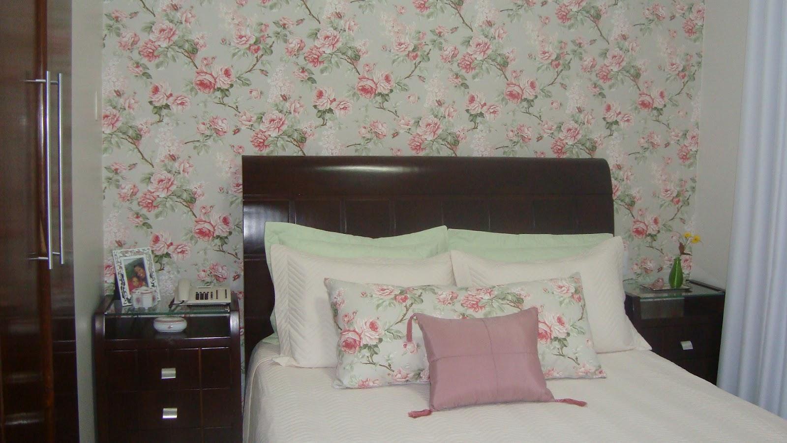 Decoracao De Quarto Tecido Na Parede ~ Meninas do Pano Quarto da J?  Tecido floral reveste a parede