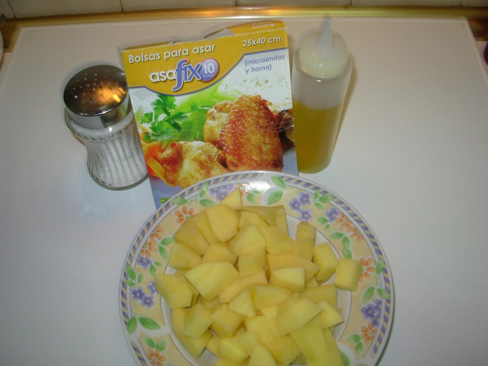 Cocinando con la family patatas al microondas - Cocinando con microondas ...