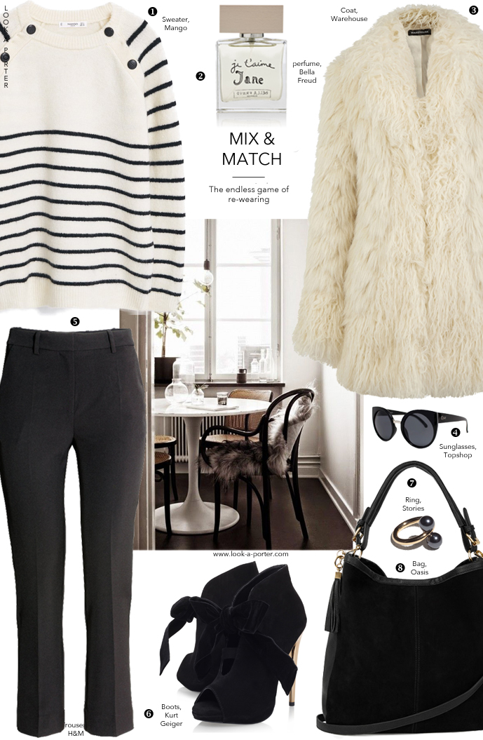 Another way with stripes and fluffy fur coat. Via www.look-a-porter.com style & fashion blog, outfit inspiration daily