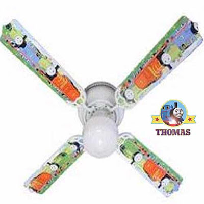 Kids theme railway James and Percy Thomas the Train and friends 42 inch ceiling fan room light decor