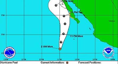 Trayectoria huracan Paul, 15 de Octubre 2012