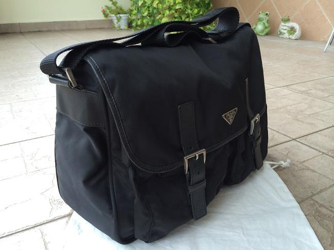 black prada messenger - Truly Vintage: Authentic Prada Tessuto Nylon Cross Body Messenger Bag