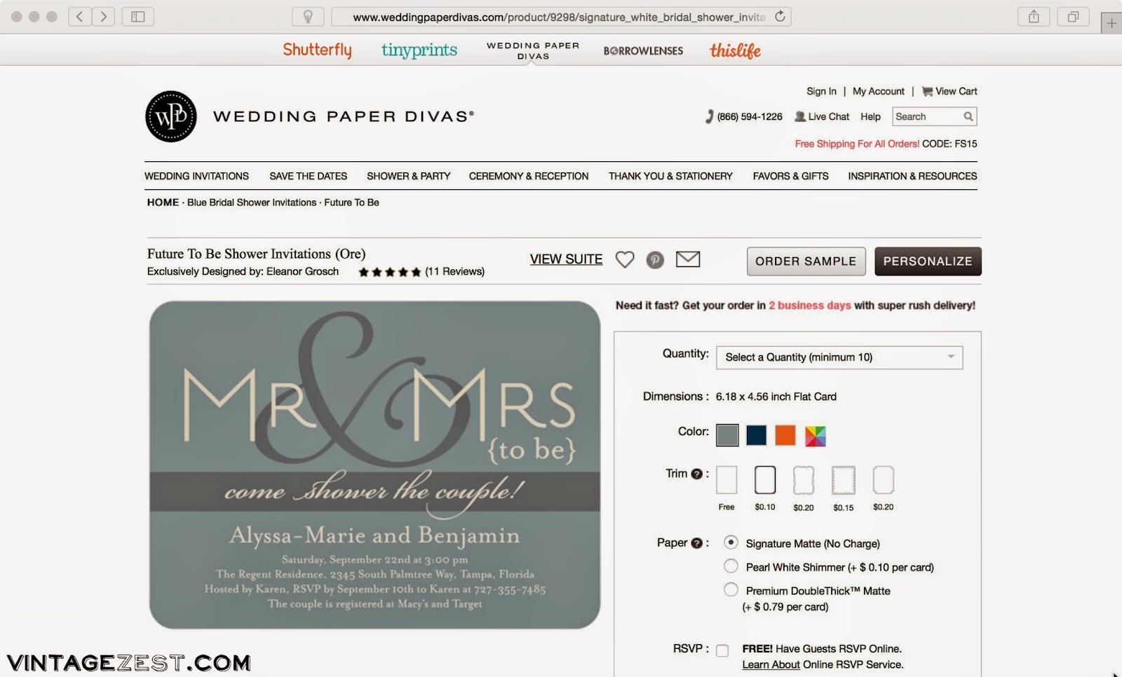 Bridal Shower Invitations with Wedding Paper Divas ~ Diane\'s Vintage ...