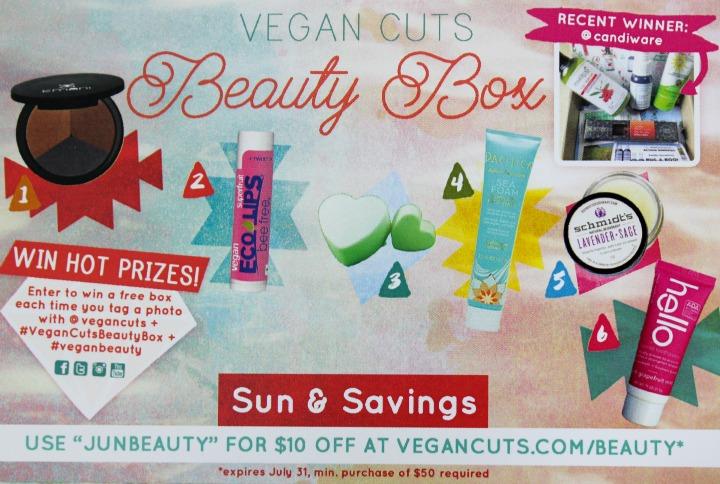 Vegan Cuts Beauty Box: June 2015 info card front