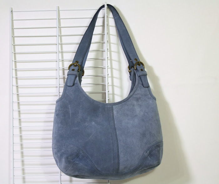 SOLD- Coach Blue Suede Hobo Handbag