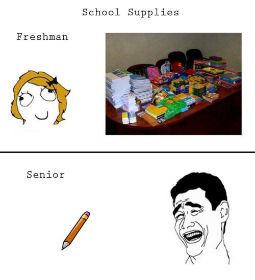 School Supplies - Freshman vs.Senior