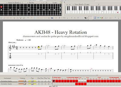 aransemen lagu akb48 jkt48 heavy rotation di guitar pro 5