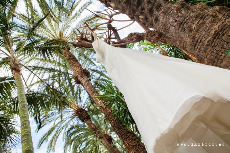 Vestido de novia colgado de una palmera en Hotel Huerto del Cura