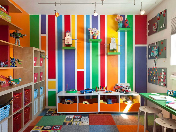 Colorful interior cozy house in San Diego Summer