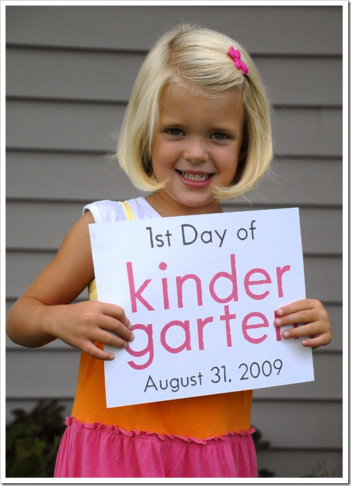 Free printable first day of school sign shown above, available here)