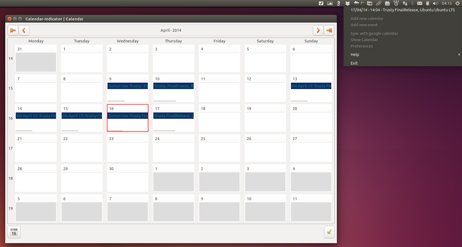 How to install Calendar Indicator on ubuntu 14.04 LTS Trusty Tahr AppIndicators (applets)