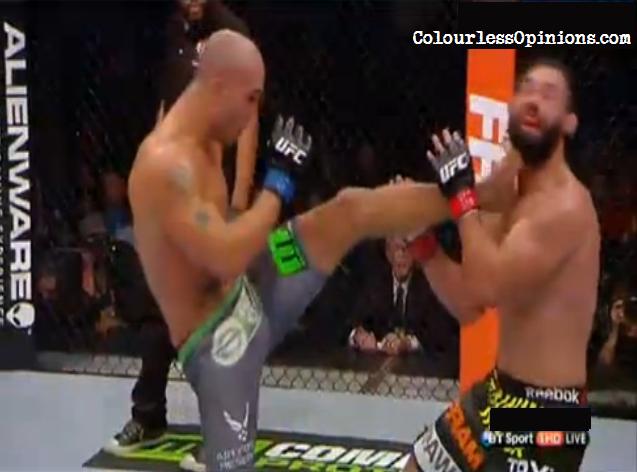 Robbie Lawler front kick Johny Hendricks UFC 181
