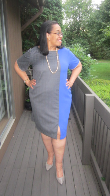 wool suitng color block dress