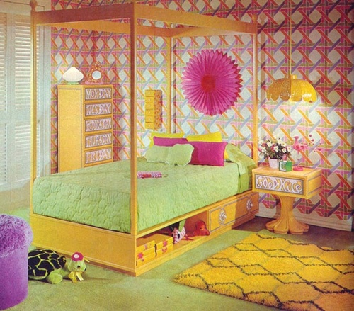Theme inspiration retro stylish seventies trend for Bright bedroom wallpaper