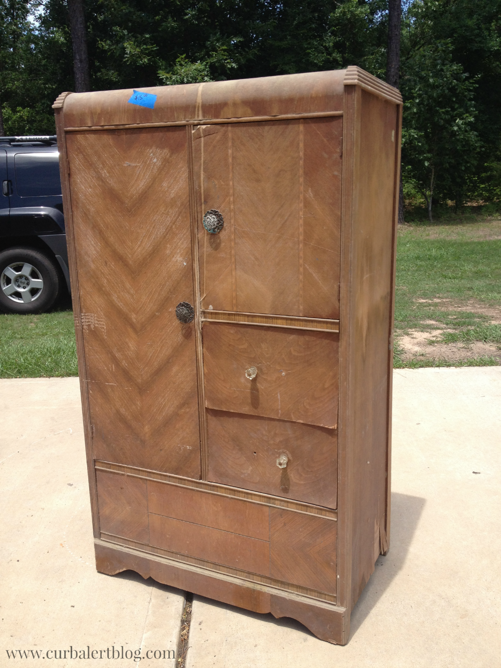Curb Alert! : Waterfall Style Antique Chifferobe Wardrobe