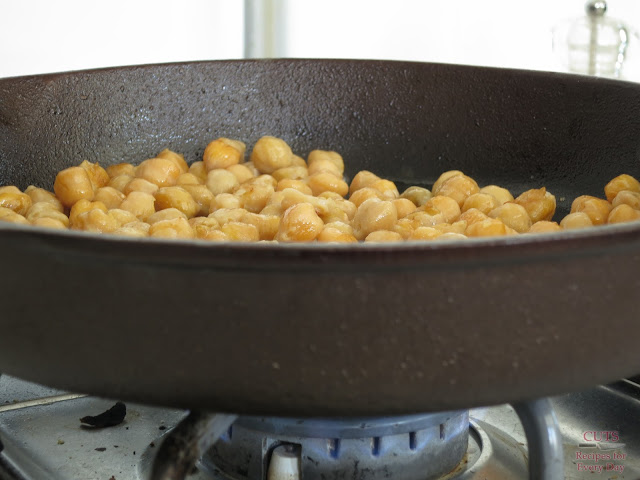 garbanzo beans in a pan