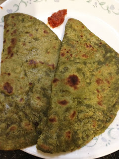 Spinach Roti,Palak chapati,green chapati