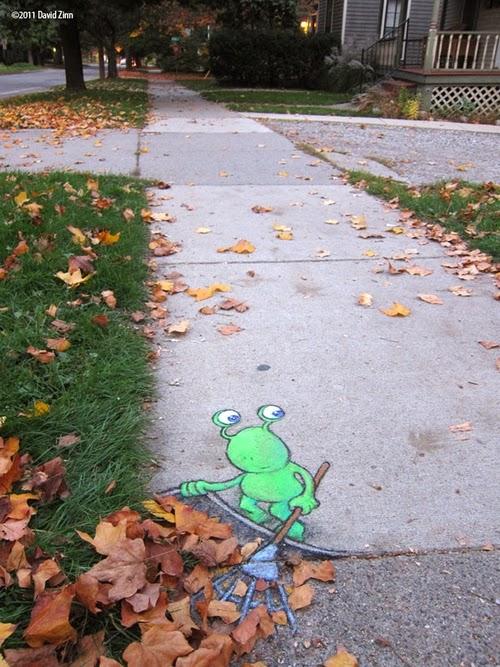 06-Lazy-Leafraker-Artist-David-Zinn-Chalk-Street-Art-www-designstack-co