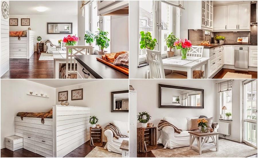 kawalerka, małe mieszkanie, wnętrze, białe wnętrze, sypialnia, salon, kuchnia