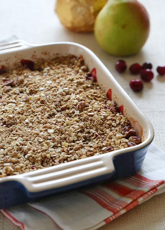 ... pears and seasonal tart cranberries, then topping with a oat-nut