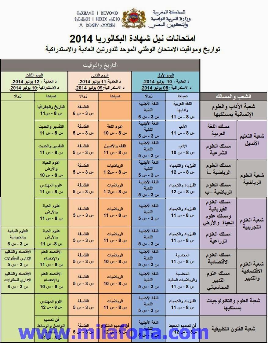تاريخ الامتحان الوطني 2014