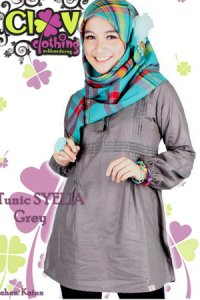 Clover Clothing Blus Syelia - Grey (Toko Jilbab dan Busana Muslimah Terbaru)