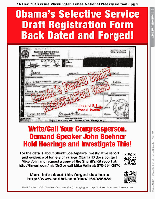 Washington Times ObamaS Forged Selective Service Registration Form