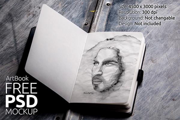 Download Gratis Mockup Majalah, Brosur, Buku, Cover - FREE Art Book Photorealistic Mockup