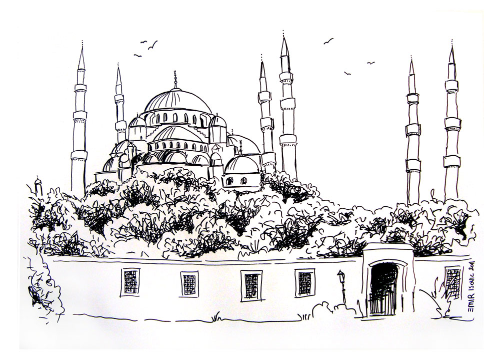 isovic emirs drawings sultan ahmet blue mosque