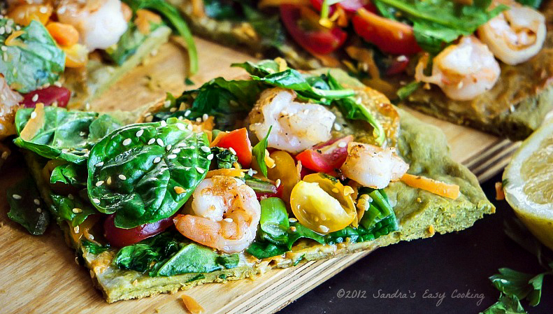 Homemade Easy recipe for Flatbread Pizza made with Matcha {Green Tea Powder}