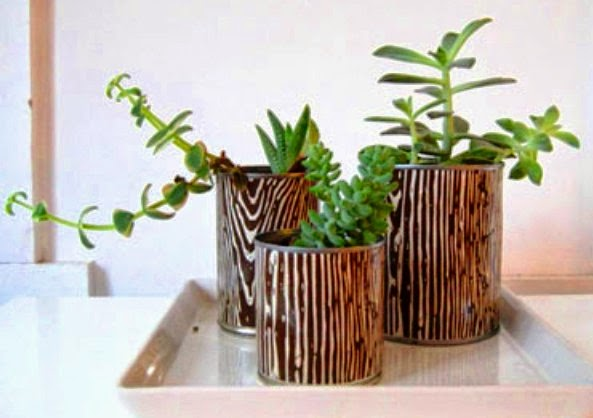 Gambar Membuat Pot Bunga dari Kaleng Bekas Unik