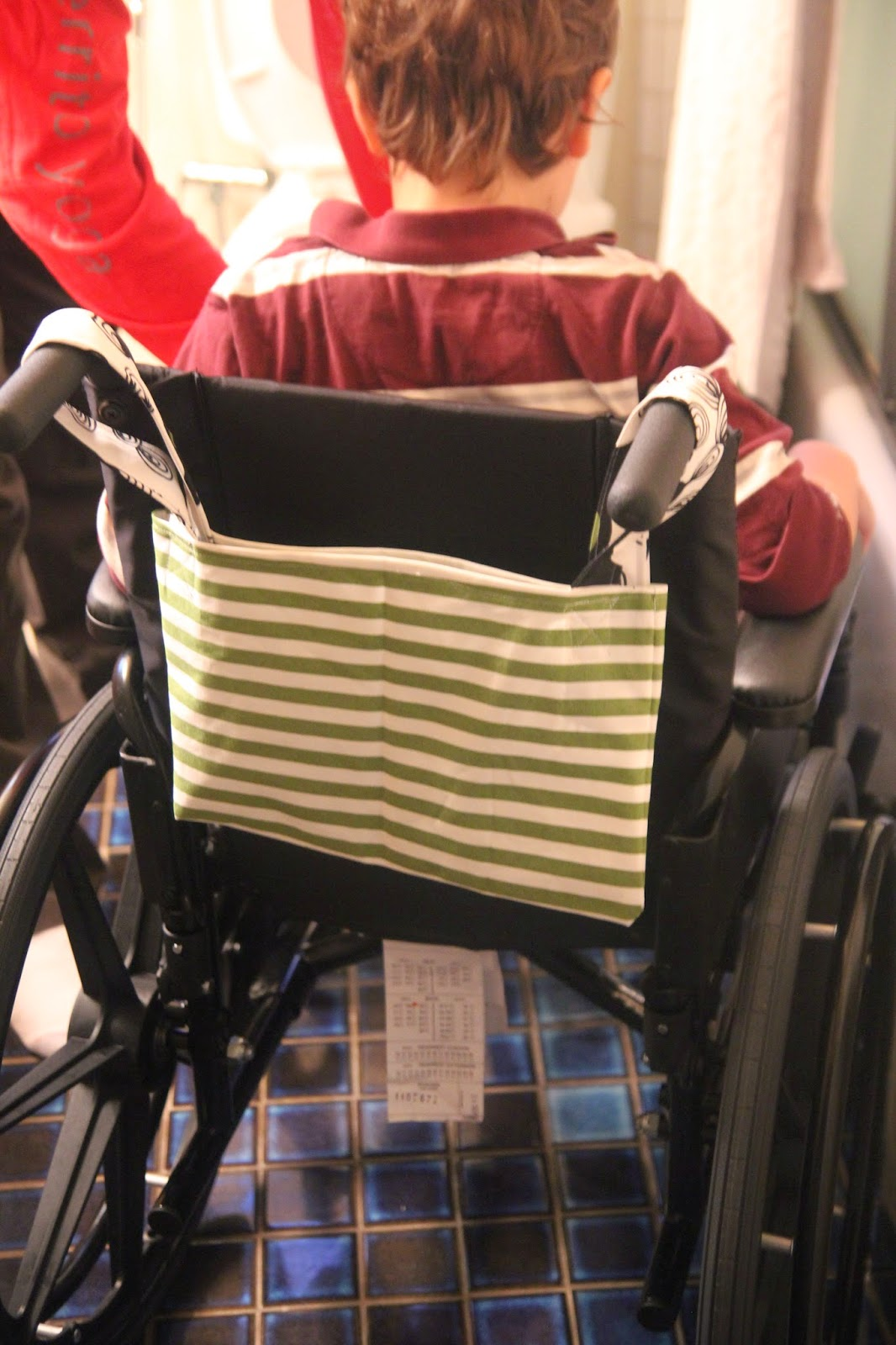 We Pretty Much Immediately Set To Work Making A Wheelchair Bag For The  Handles. My Son Chose Some Heavy Canvas Weight Ikea Fabric I Had (stripes  And A ...