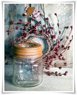 Primitive Hanging Mason Jar