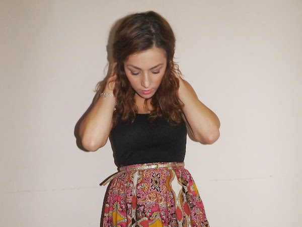 What Cat Wore: Scarf Print Skirt