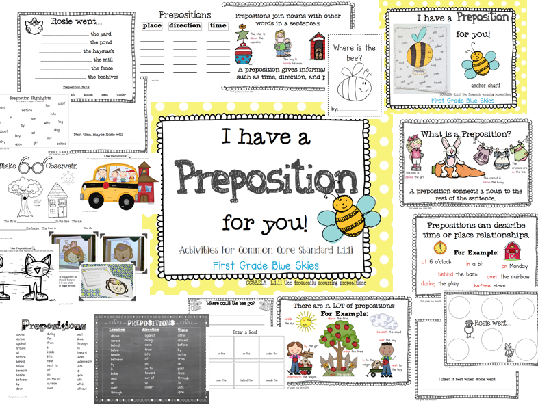 I Have a Preposition For You! Prepositions in First Grade (freebie ...