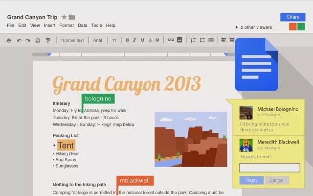 Tampilan Google Docs