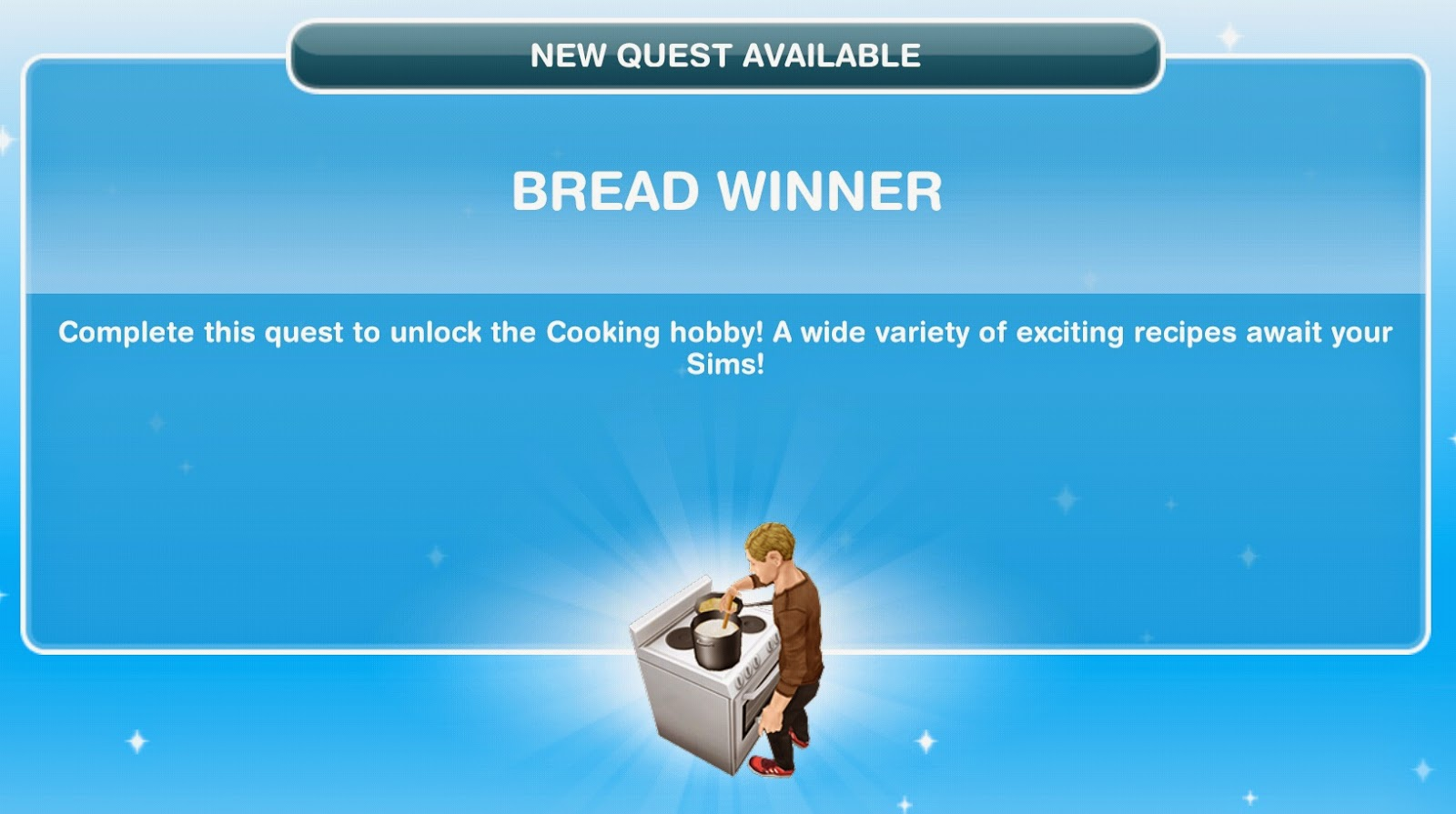 Wonderful image of Sims Freeplay Quests and Tips: Let's Eat Quest: Bread Winner with #0F84BC color and 1600x895 pixels