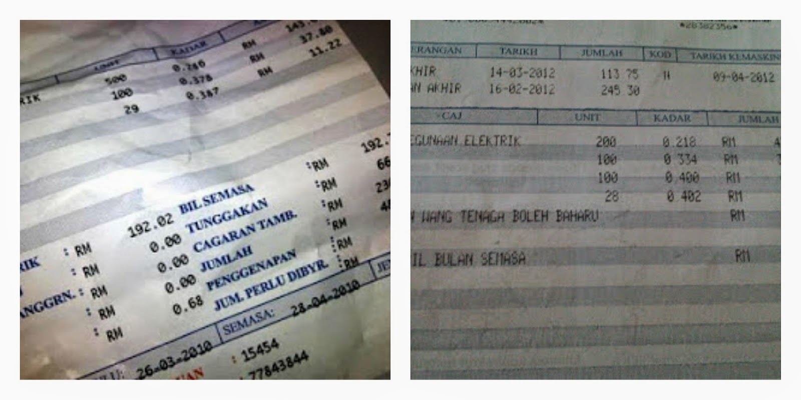 Malaysia Electricity Bill 2008 and 2012