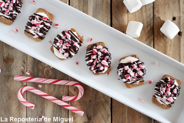 Vista aérea del conjunto de galletas ya montadas, sobre una bandeja alargada en una mesa de madera.Como detalle se ven varios bastones de caramelo al lado.