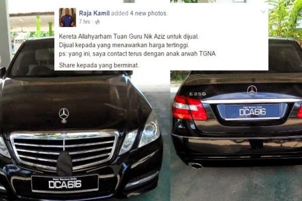 Kereta Allahyarham Tok Guru Nik Aziz akan dijual