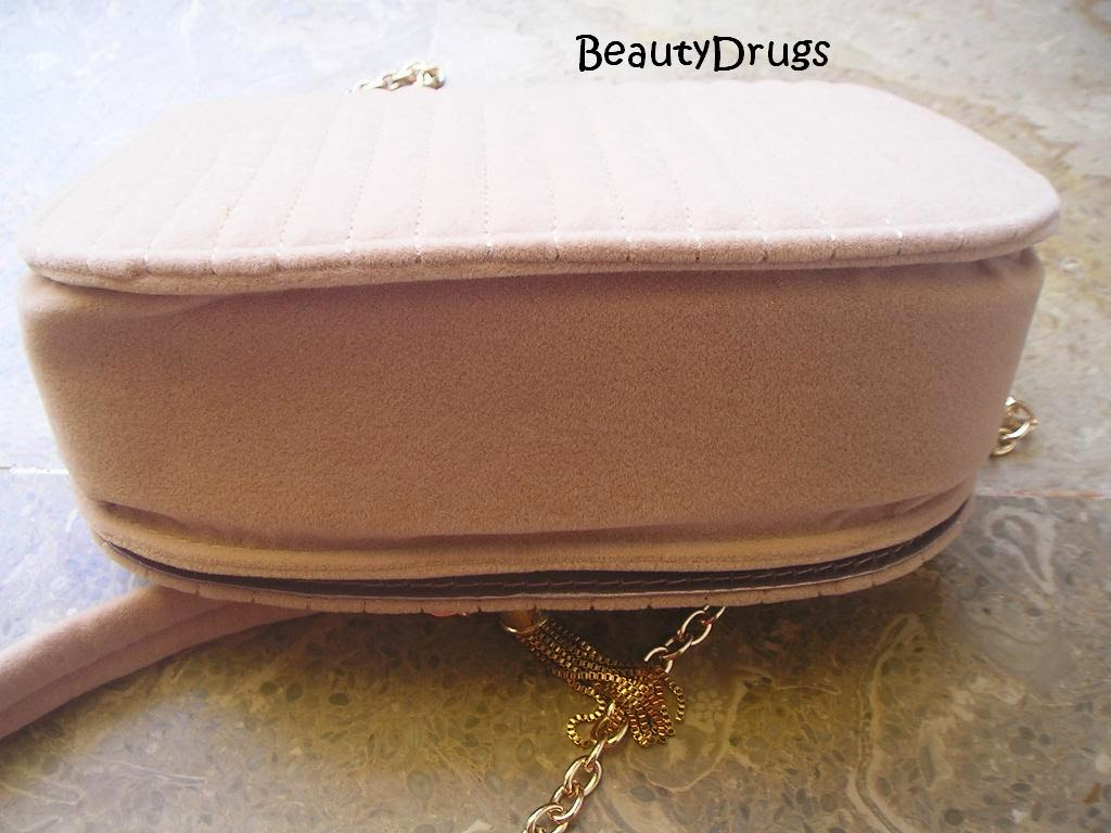 replica ysl beige velvet long chain clutch