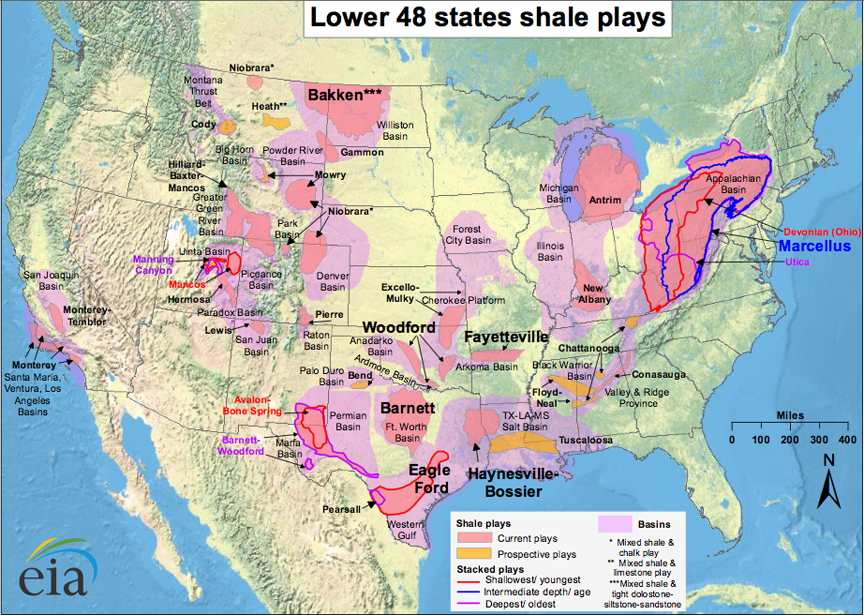 Bit Tooth Energy October - Map of us with drilling locations